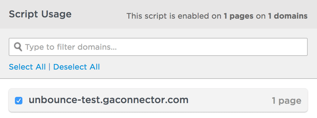 Select Unbounce Domain(s)