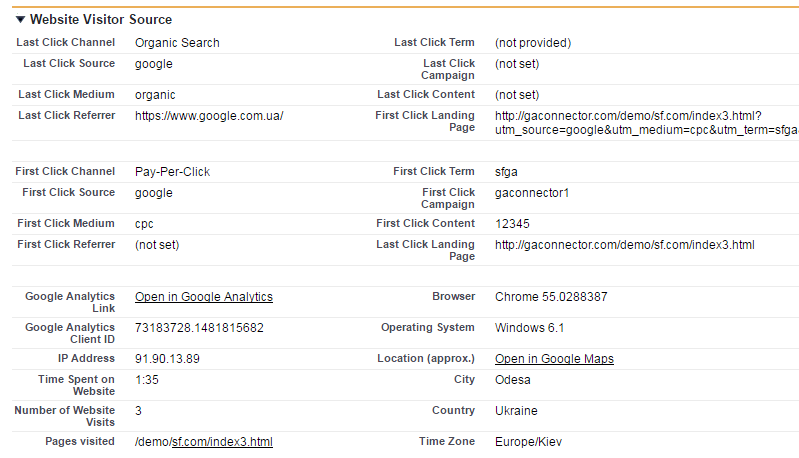 GA Connector: Tracking website visitor information inside Google Analytics