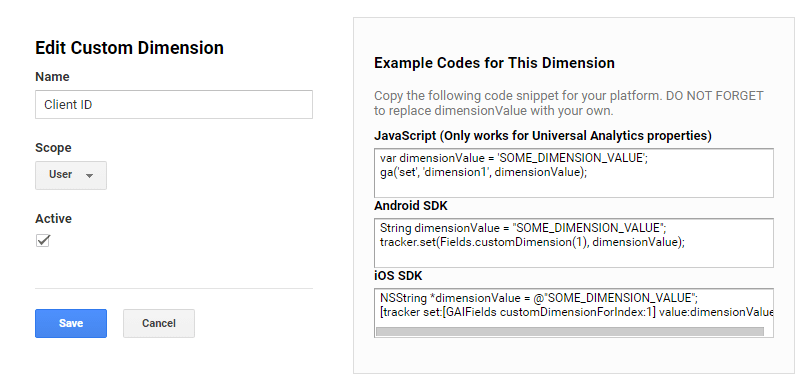 Create Google Analytics Client ID dimension