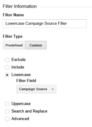 Google Analytics Lowercase Campaign Source Filter