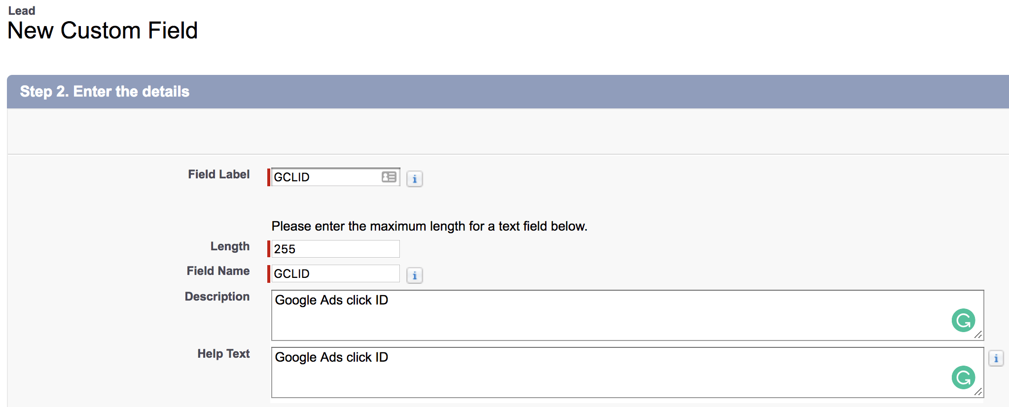 Create GCLID field in Salesforce