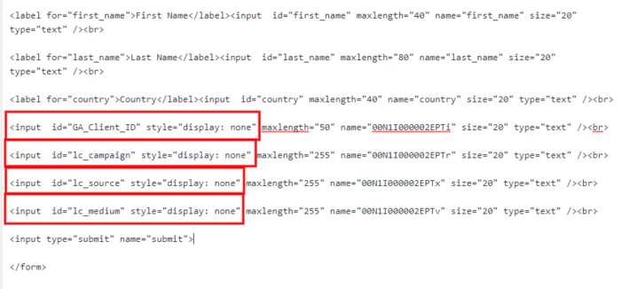 Salesforce web-to-lead code 5