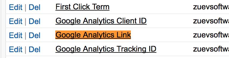 Locate Google Analytics Link