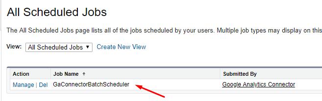 GA Connector Salesforce Scheduled jobs