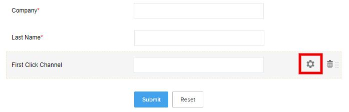 Zoho webform field settings