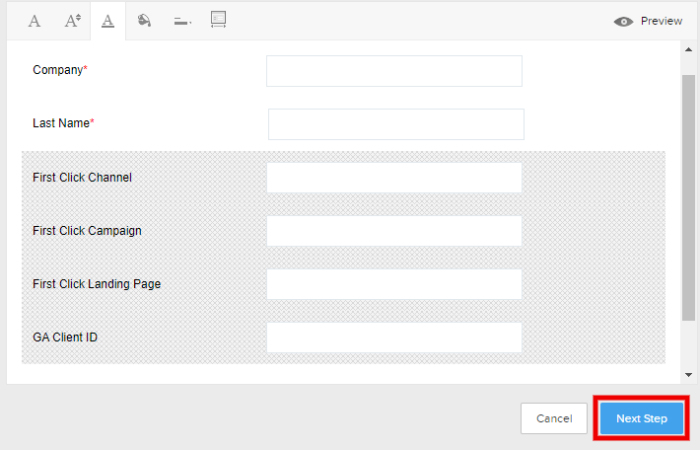 Zoho webform next step