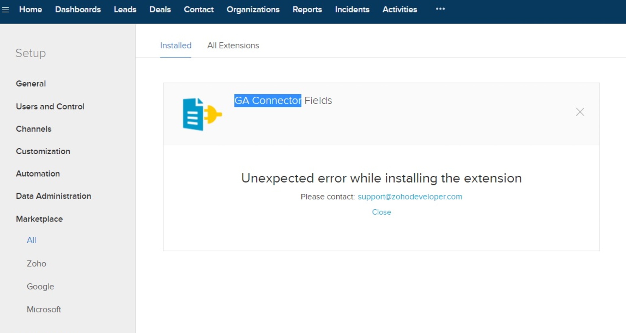 Zoho CRM unexpected error while installing the extension