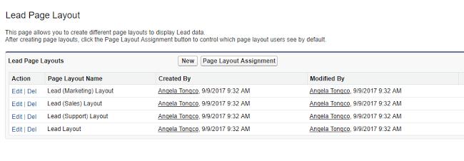 Lead Page Layouts Salesforce