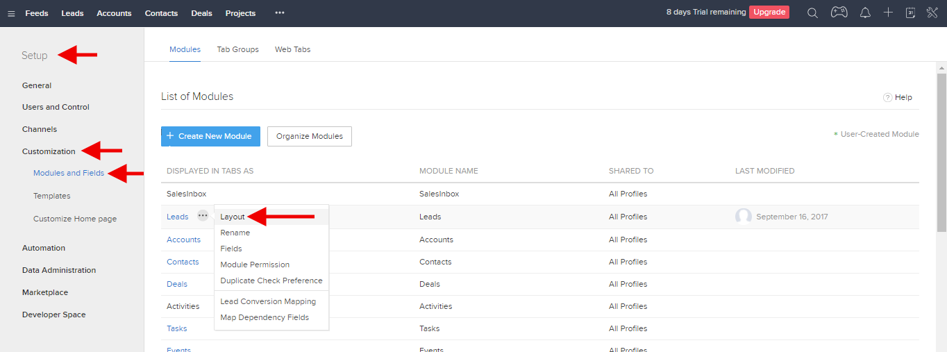 Customize Zoho Lead Report Layout